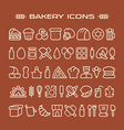 Set of bakery icons in thin line style vector image