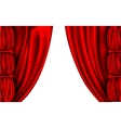 Shiny red silk curtains with columns