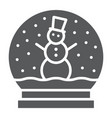 snow globe glyph icon christmas and glass vector image