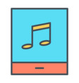 tablet with music note thin line icon pictogram vector image vector image