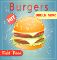 tasty burger vector image vector image
