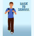 walking schoolboy with schoolbag behind his back vector image