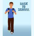 walking schoolboy with schoolbag behind his back vector image vector image