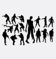 zombie hunter silhouette vector image vector image
