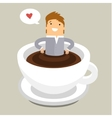 Coffee time man relaxing in coffee cup vector image