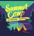 night forest with moonlight and campfire summer vector image
