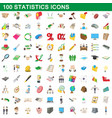 100 statistics icons set cartoon style vector image