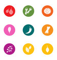 arbor icons set flat style vector image vector image