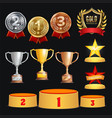 award trophies set achievement for 1st vector image vector image