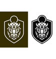 buffalo short horns head silhouettes on shield vector image vector image