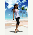cartoon happy girl standing on tropical coast vector image vector image