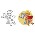 cupid and heart in hands vector image