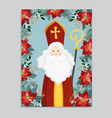 cute greeting card with saint nicholas falling vector image vector image