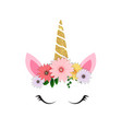 cute unicorn head and eyes with flower vector image vector image