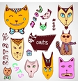 Doodle cats collection Hand drawn coloring page vector image vector image