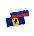 flags barbados and russia on a white background