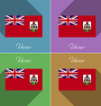 Flags Bermuda Set of colors flat design and long vector image vector image