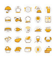 flat restaurant and food icons vector image vector image