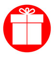 gift sign white icon in red circle on vector image vector image