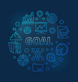 goal concept business blue round line vector image vector image