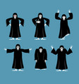 grim reaper set poses and motion death happy and vector image vector image