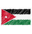 hand drawn national flag of jordan isolated on a vector image