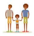 happy aframerican gay men posing with their child vector image vector image