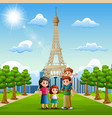 happy family in front of eiffel tower background vector image vector image