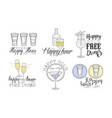 happy hour hand drawn retro labels set free vector image vector image