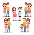 happy pregnancy pregnant woman mom man father vector image
