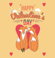 happy valentines day card with cute foxes vector image