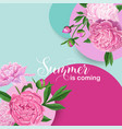 hello summer floral design with pink peony flowers vector image vector image