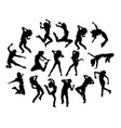 hip hop jumping silhouettes vector image vector image