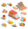 isometric icons - car fast delivery of food vector image