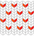 knitted abstract heart white stripe winter decor vector image