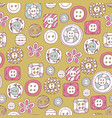 lovely buttons seamless pattern vector image vector image