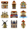 Medieval buildings icons set vector image