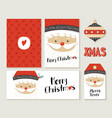 merry christmas santa claus card and label set vector image vector image