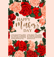 Mother day greeting card with frame of rose flower vector image