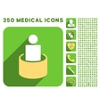 Patient Isolation Icon and Medical Longshadow Icon vector image vector image