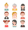 people of various ages portraits set on white vector image vector image