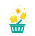 plastic shopping basket vector image vector image