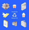 recycle paper waste management set vector image