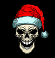 santa claus skull on black background christmas vector image