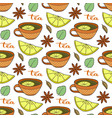 seamless pattern with tea cups lemons and spicy vector image