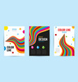 set leaflet with bright rainbow stripes on white vector image vector image