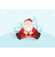 Siting Santa with presents and Christmas tree vector image