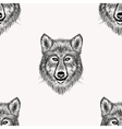 Sketch realistic face Wolf seamless pattern Hand vector image vector image