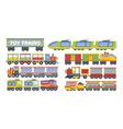 trains toy set stylish futuristic retro vector image vector image