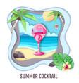 tropic cocktail on sea beach landscape paper cut